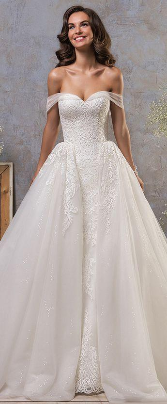 Hochzeit - Stunning Tulle Off-the-shoulder Neckline 2 In 1 Wedding Dress With Lace Appliques & Detachable Skirt