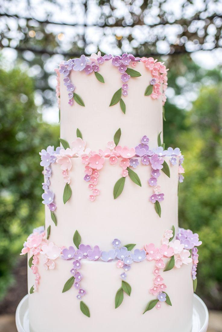 زفاف - Cake By Iced N Frosted. Sweet Little Pink And Lavender Blossoms Cake.
