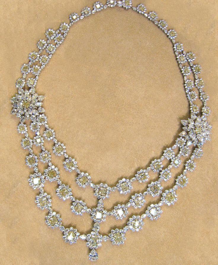 زفاف - 137.82cttw 3 Row Diamond Necklace By Harry Winston