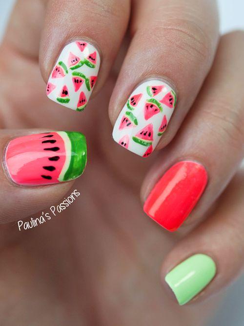 Свадьба - Adorable Watermelon Nails  . Http://justladythings.com
