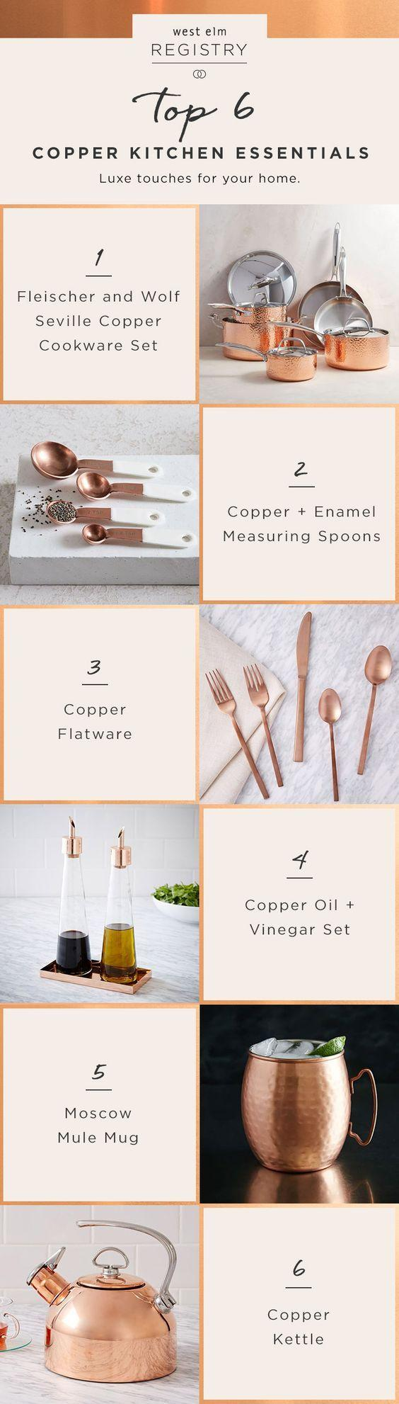 Hochzeit - Tying The Knot? These Copper Kitchen Essentials Are Wedding Registry Must-haves! Head Over To Westelm.com To Get Your Registry Started.