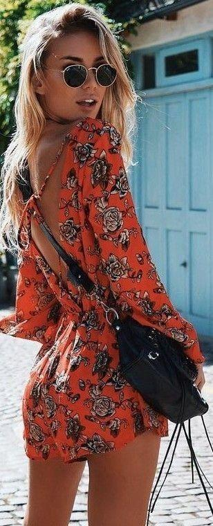 زفاف - #Summer #Outfits / Orange Pattern Print Playsuit   Black Purse