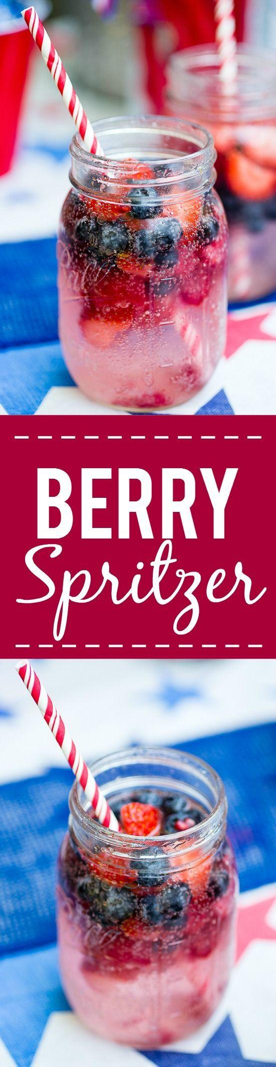 Hochzeit - Patriotic Berry Spritzer -Fresh And Full Of Sweet Berries, This Berry Spritzer Is A Pretty And Refreshing Beverage That's Patriotic Too! Perfect F…