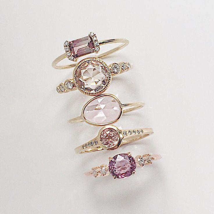 Свадьба - Hues Of Soft Pink Accented With Just The Right Amount Of Diamonds. From Top: PS Ring With Pink Tourmaline, Aurora With Morganite, Pink Sapphire Sli…