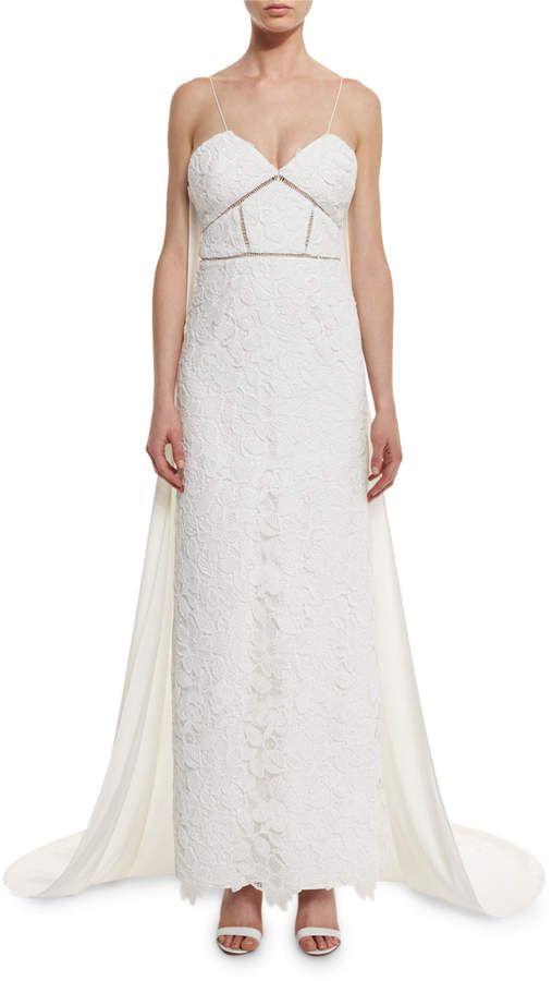 Wedding - Self Portrait Angelica Guipure Lace Cape-Back Bridal Gown, White At #bergdorfgoodman #ad