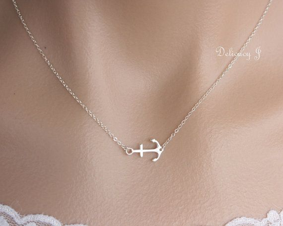 Wedding - Silver Anchor Necklace, Navy Mom Necklace, Sea Life Gift For Mom, Dainty Necklace, Gift For Her, Sweet 16, Gift For Women, Sideways Anchor