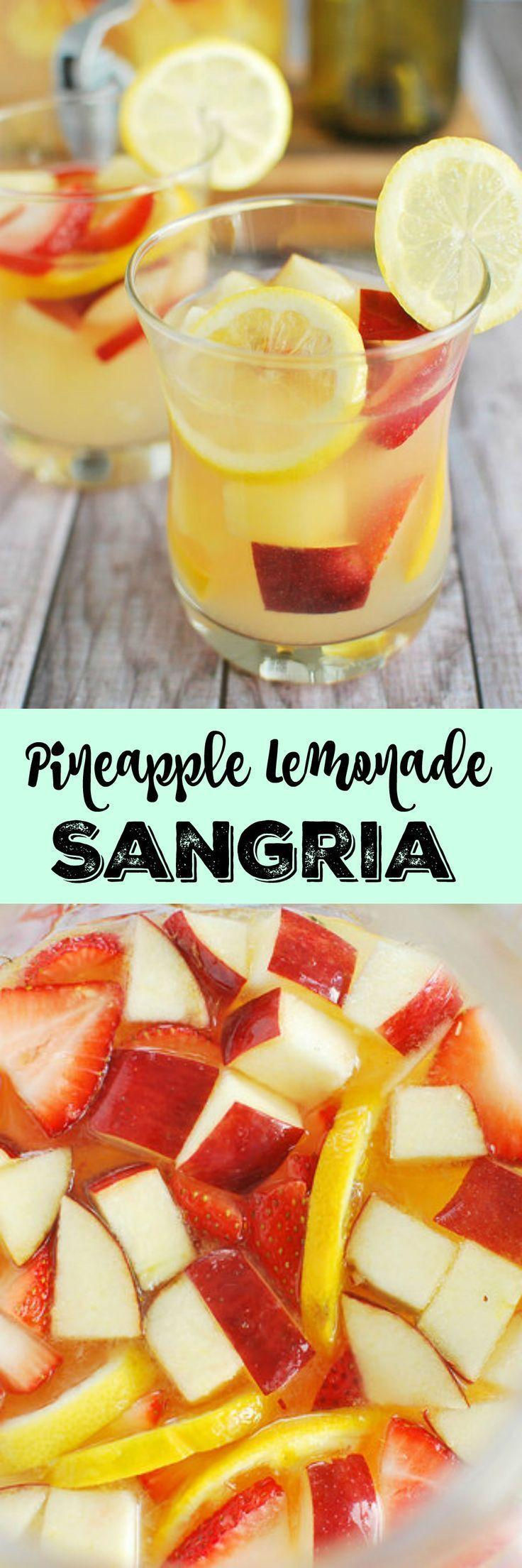 Hochzeit - Pineapple Lemonade Sangria ~ The Ultimate Summer Drink Recipe...white Wine, Lemonade, And Rum With Tons Of Fresh Fruit Mixed In!