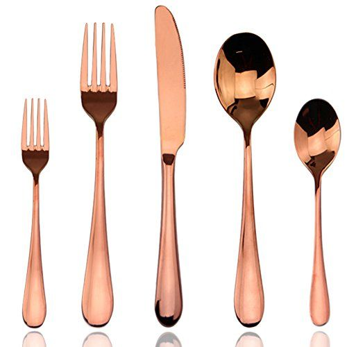 Wedding - Flatware Sets, Luxury 20 Pieces Rose Gold Plated 18/10 Stainless Steel Cutlery Silverware Dinnerware Flatware Sets,Service For 4