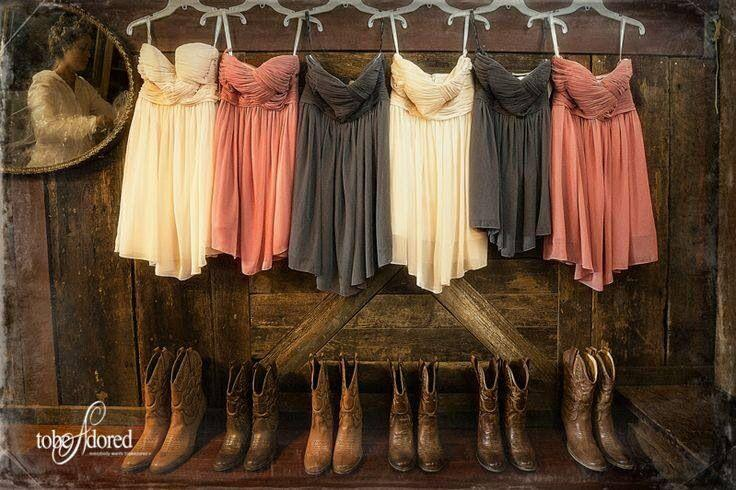 Hochzeit - Bridesmaid Dresses And Boots  Wedding Picutres