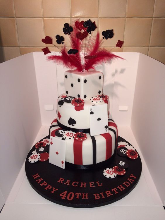 Casino Theme Cake With Glitter Wired Explosion Poker Playing Cards Las Vegas 40th Birthday