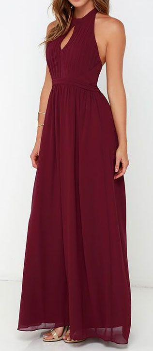 زفاف - Ooh Gala-La Burgundy Maxi Dress