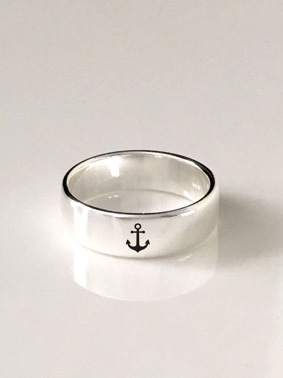 Mariage - Anchor Sterling Silver Band Ring 4mm And 6mm Ring/925 Sterling Silver/Custom Personalized Engraved Ring/engraving Inside Sold Separately