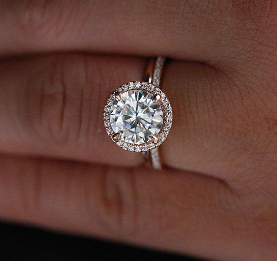 Свадьба - 14k Rose Gold Moissanite Engagement Ring With Classic Moissanite Round 8mm And Diamond Halo Ring With Plain Gold Band
