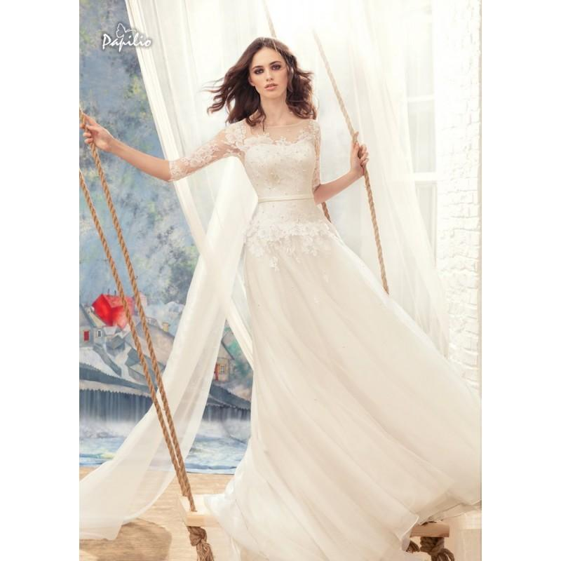 Hochzeit - Papilio 2017 1716L Seagull Sweet Chapel Train Ivory Aline 1/2 Sleeves Illusion Lace Beading Bridal Gown - Customize Your Prom Dress