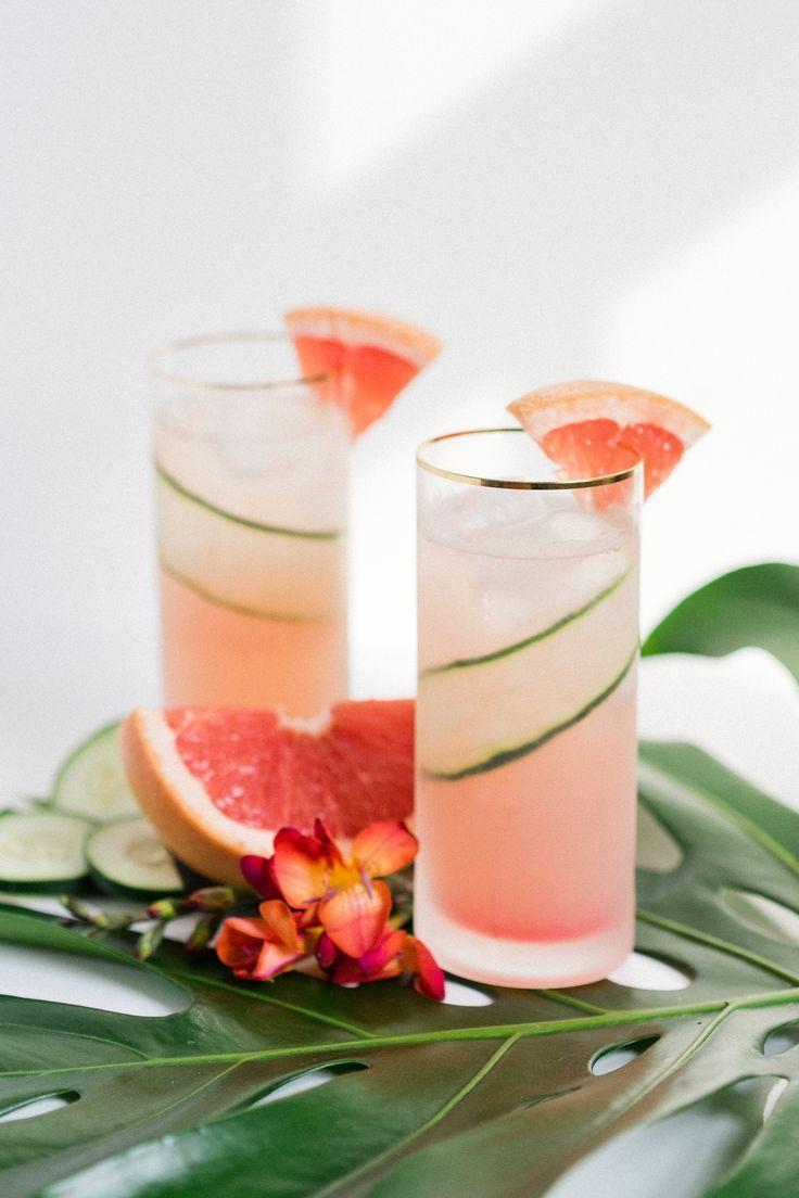 Hochzeit - Paradise Found: A Refreshing Grapefruit Cucumber Gin Cooler That Tastes Like Vacation