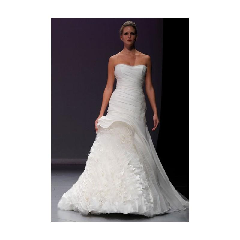Wedding - Rivini - Fall 2012 - Xsenia Strapless Silk Organza A-Line Wedding Dress with a Soft Scoop Neckline and Ruffle Tulle Skirt - Stunning Cheap Wedding Dresses