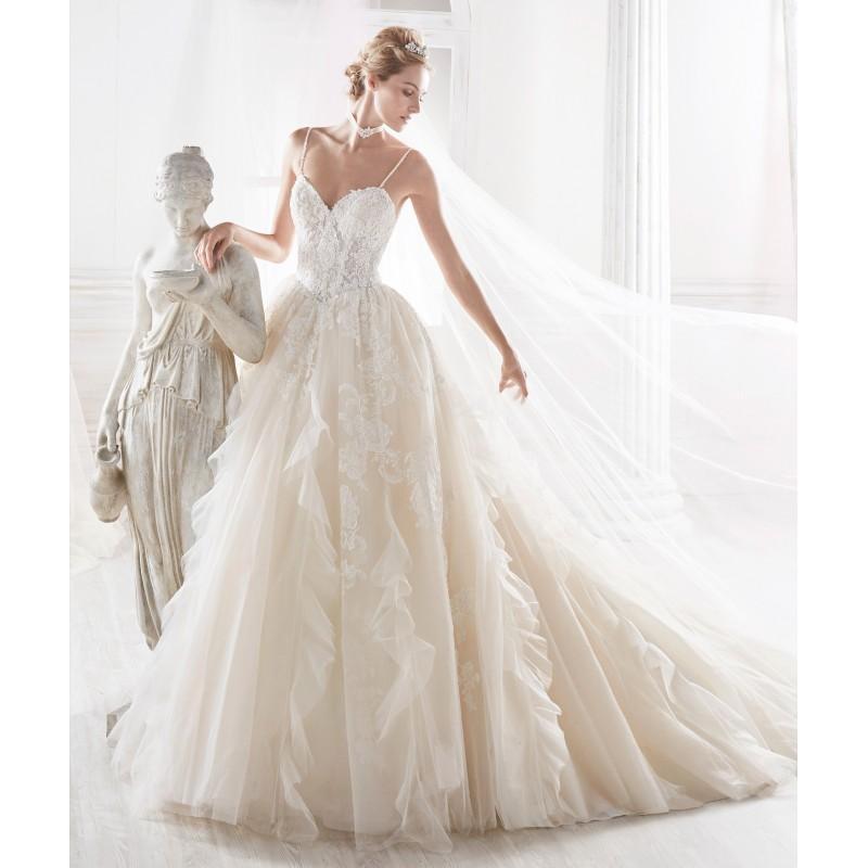 Wedding - Nicole 2018 NIAB18087 Chapel Train Open Back Sweet Nude Sleeveless Spaghetti Straps Lace Princess Ruffle Wedding Dress - Robes de mariée France