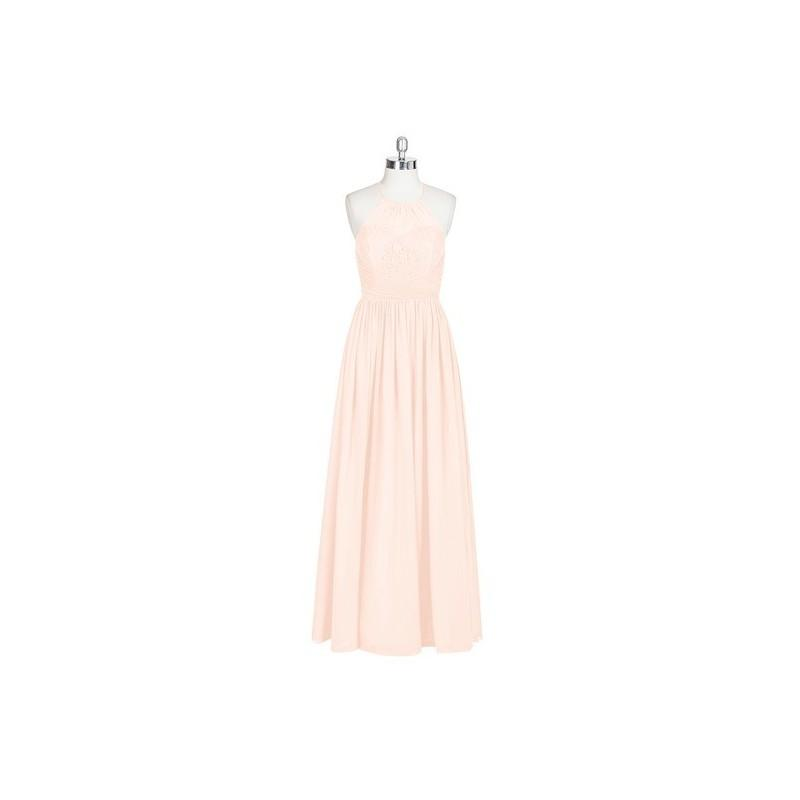Mariage - Pearl_pink Azazie Harmony - Floor Length Strap Detail Chiffon Halter Dress - Charming Bridesmaids Store