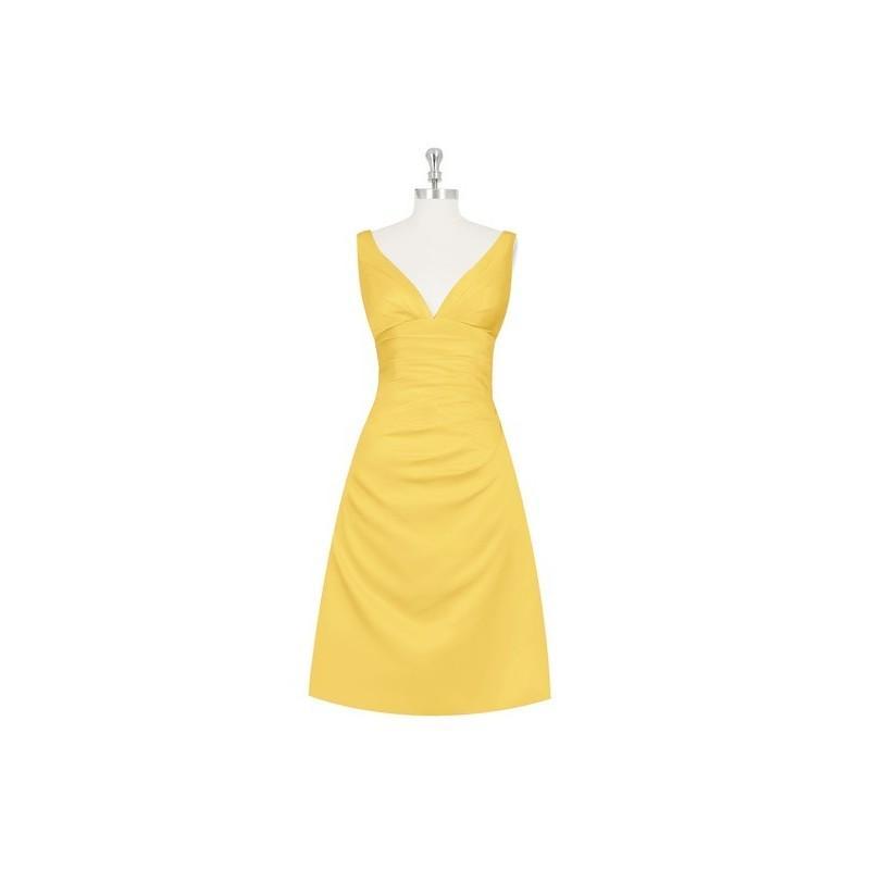 Wedding - Marigold Azazie Haylee - V Neck Knee Length Back Zip Satin Dress - Charming Bridesmaids Store