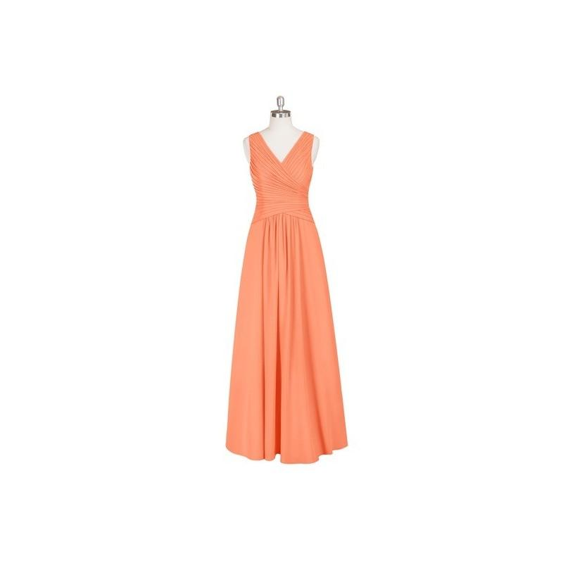 Wedding - Papaya Azazie Amelia - Floor Length Chiffon V Neck Back Zip Dress - Charming Bridesmaids Store