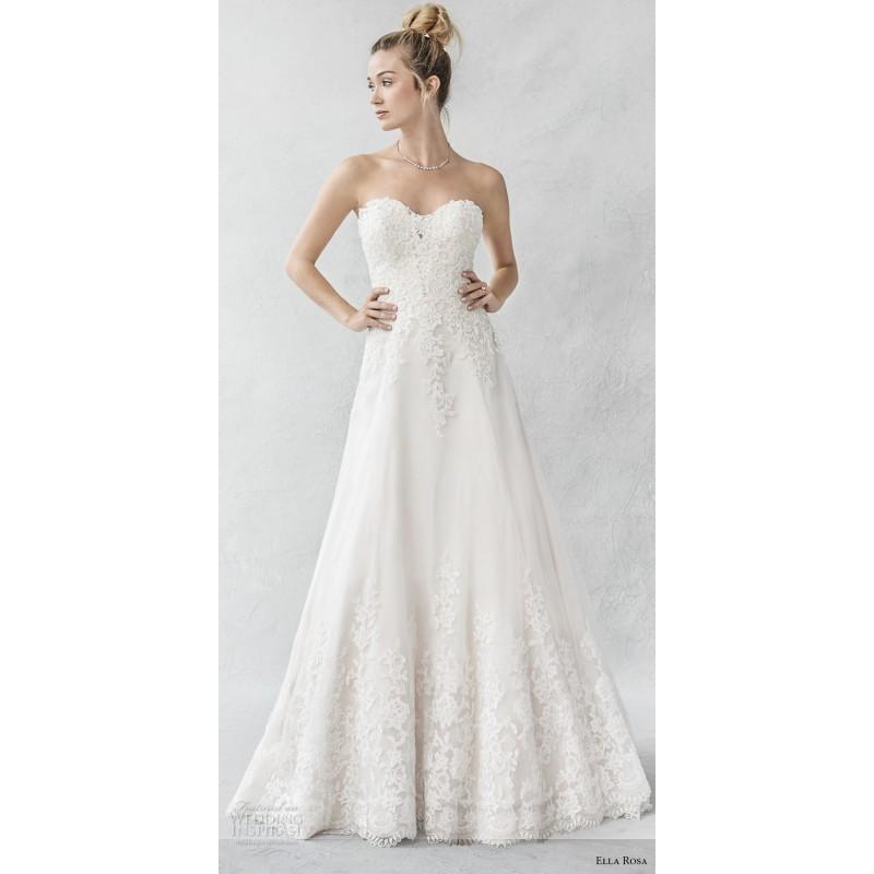 Wedding - Ella Rosa Spring/Summer 2017 BE388 Chapel Train Tulle Sleeveless Appliques Sweet Aline Ivory Sweetheart Wedding Dress - Brand Prom Dresses