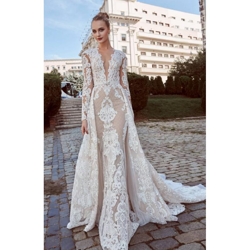 Wedding - Miriams 2018 Bohemia Elegant Nude Detachable Aline Long Sleeves Deep Plunging V-Neck Beading Lace Spring Dress For Bride - Rich Your Wedding Day