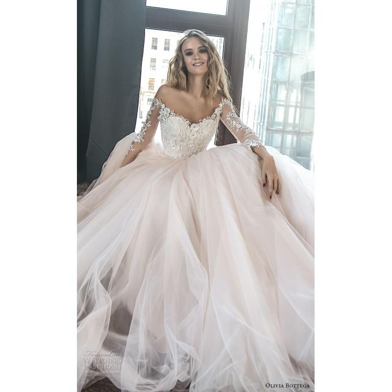 d092768c02d1 Olivia Bottega 2018 Brukli Royal Train Blush Sweet Ball Gown Illusion Long  Sleeves Tulle Appliques Bridal Dress - Bridesmaid Dress Online Shop