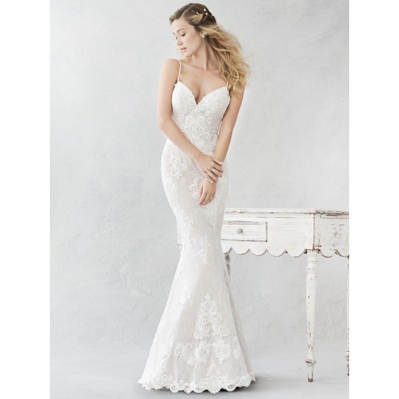 Hochzeit - Ella Rosa Spring/Summer 2017 BE380 Sweep Train Embroidery Champagne Lace Sheath Spaghetti Straps Sleeveless Wedding Gown - Bridesmaid Dress Online Shop