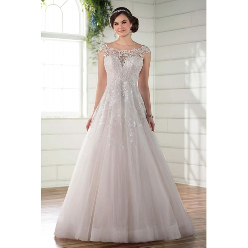 8b48d34c472c Plus-Size Dresses Style D2295 by Essense of Australia - Ivory White Lace  Tulle Illusion back Floor Wedding Dresses - Bridesmaid Dress Online Shop