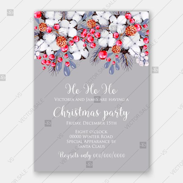 cotton cranberry pine cone fir watercolor christmas party invitation
