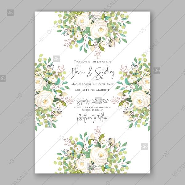 Mariage - Rose white greenery wedding background vector invitation template bridal shower invite baby birthday autumn