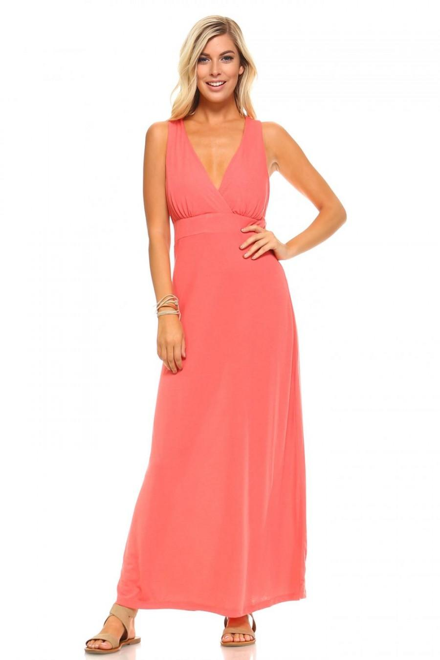 Mariage - Christine V Women's Halter Maxi Dress with Cross Back Straps