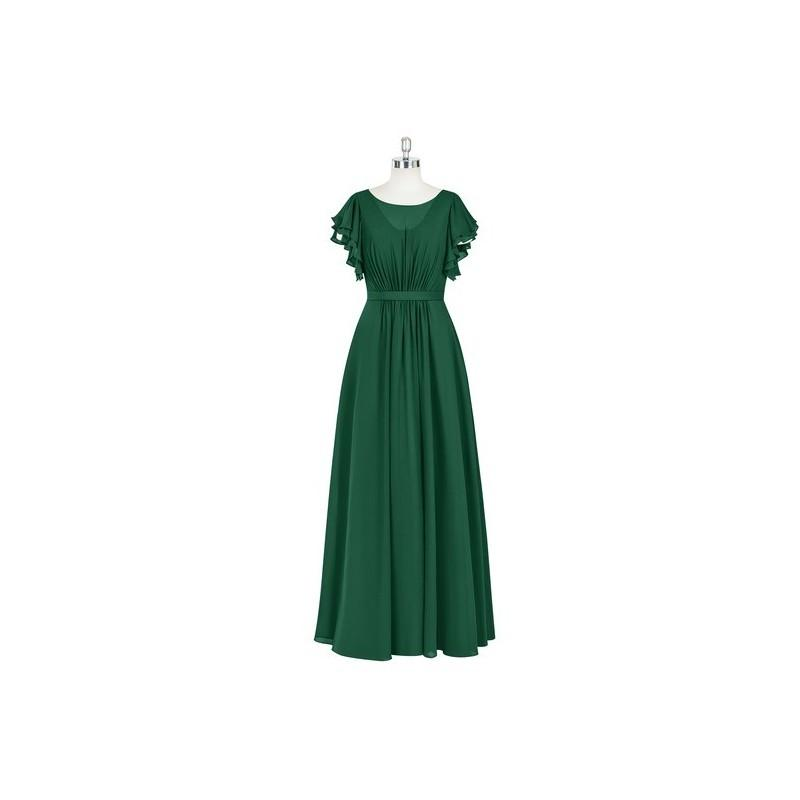 زفاف - Dark_green Azazie Daphne - Floor Length Back Zip Scoop Chiffon Dress - Charming Bridesmaids Store