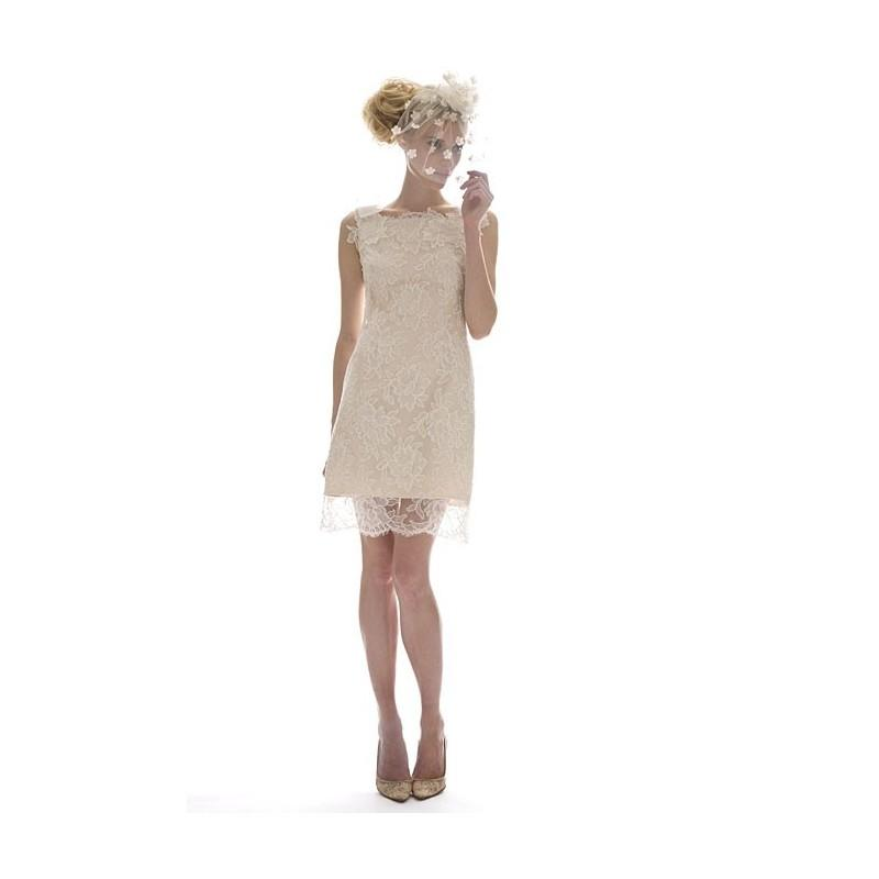 Wedding - Elizabeth Fillmore - Fall 2012 - Fleur Sleeveless Knee-Length Lace Sheath Wedding Dress with a Bateau Neckline - Stunning Cheap Wedding Dresses