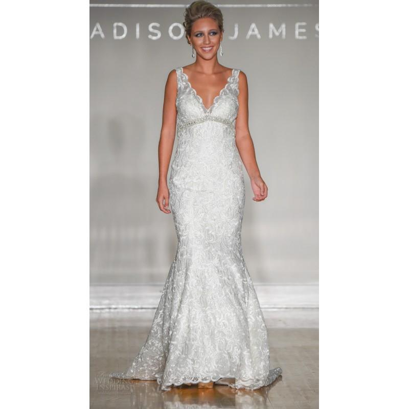 Mariage - Madison James Fall/Winter 2017 Sweep Train Elegant Ivory Lace Empire V-Neck Sleeveless Open Back Beading Wedding Dress - Customize Your Prom Dress