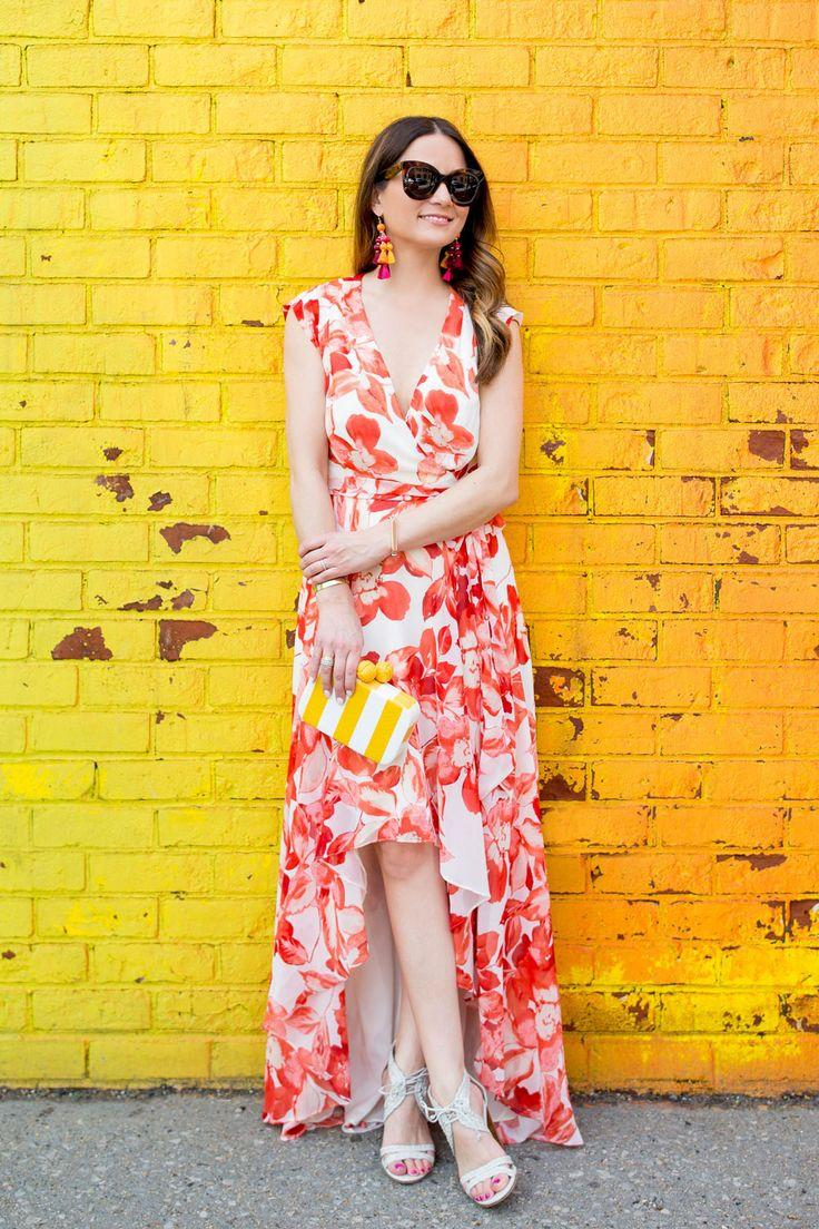 Mariage - Red Floral High Low Dress