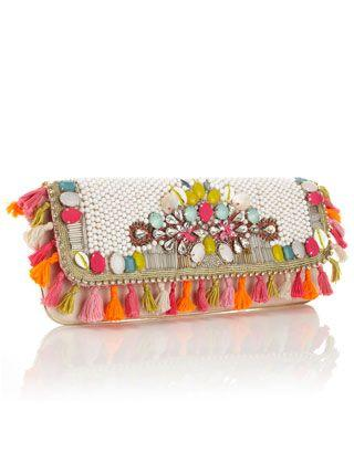 Hochzeit - Unique And Exotic Heavily Embellished Clutch With Bright Summery Beading, Shell And Diamante Detail And Tassel All Around Trim. Statement Wow Clutc…