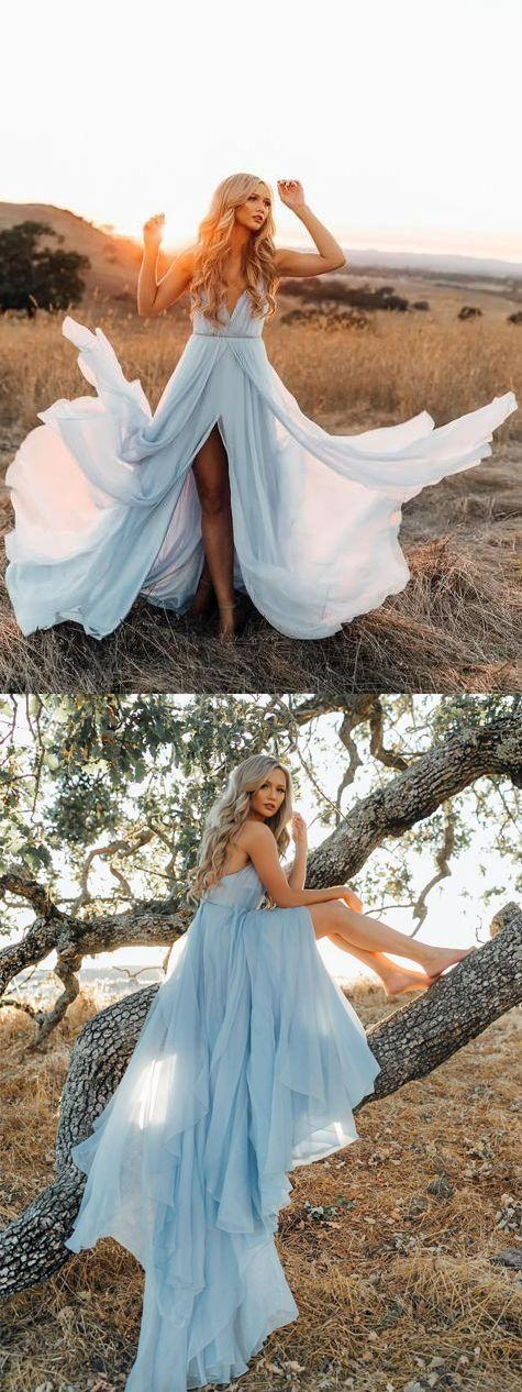 Wedding - Fairy A Line V Neck Backless Slit Light Blue Chiffon Long Wedding Dresses, Beach Wedding Dresses