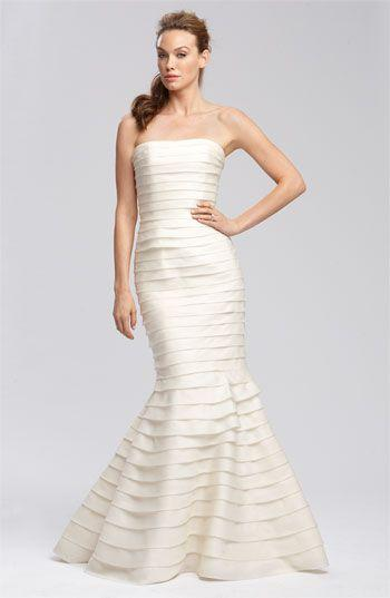 Wedding - Carmen Marc Valvo Satin Face Tiered Organza Gown #wedding