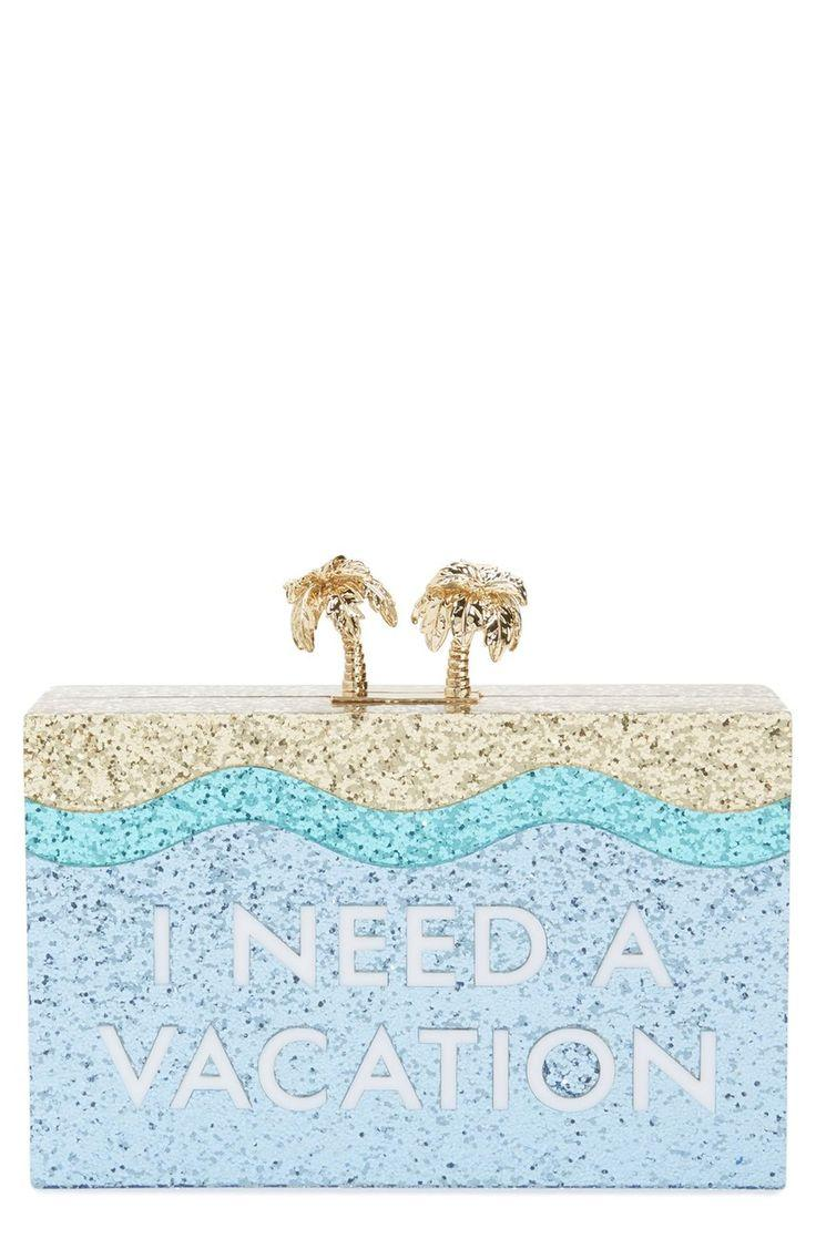 Hochzeit - How Fun Is This Box Clutch By Kate Spade That Shines The Desire For A Vacation With Sparkles And Gold Details?