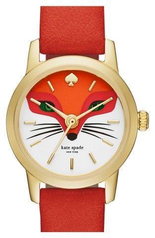 Mariage - Kate Spade New York 'metro - Fox' Leather Strap Watch, 20mm