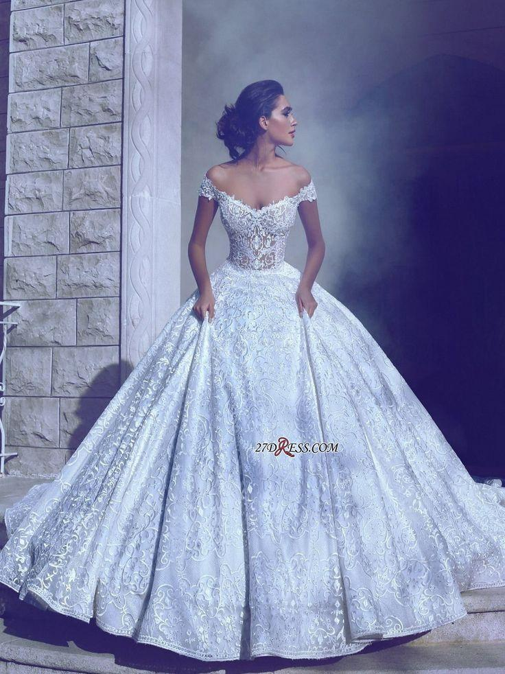 Mariage - Off-the-shoulder Lace Wedding Dress, Princess Wedding Dresses_High Quality Wedding Dresses, Prom Dresses, Evening Dresses, Bridesmaid Dresses, Home…
