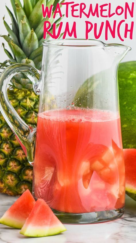 Hochzeit - This Watermelon Rum Punch Is Only A Few Easy Ingredients For A Big Pitcher Of This Refreshing Rum Punch Cocktail!