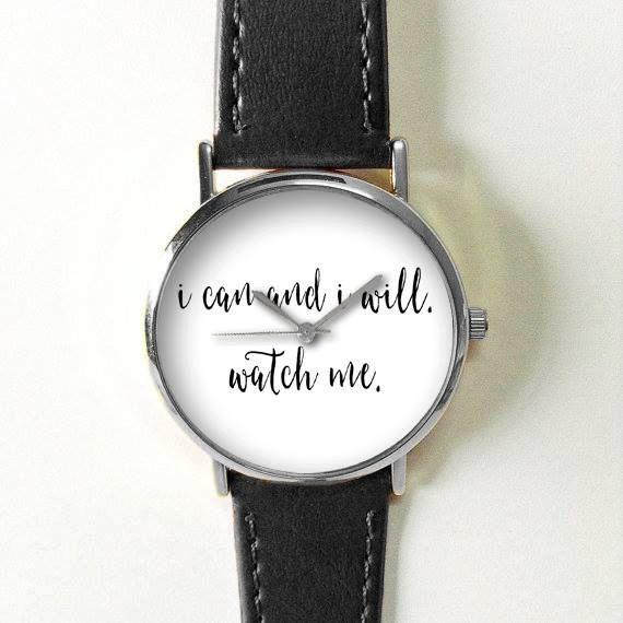 زفاف - Quotes Watch, Women Watches, Men's Watch, Leather Watch, Vintage Style Watch,  I Can And I Will, Inspirational, Black White, Personalized