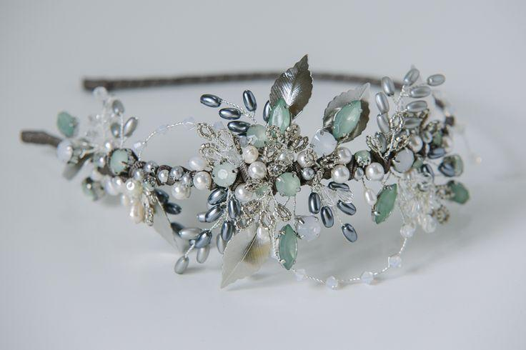 Mariage - Antique Silver And Soft Green Leaf Headdress