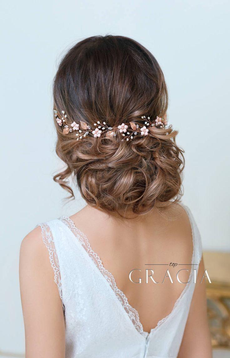 Wedding - Blush Bridal Headpiece Rose Gold Wedding Hair Vine Blush Bridal Flower Crown Rose Gold Floral Weddin