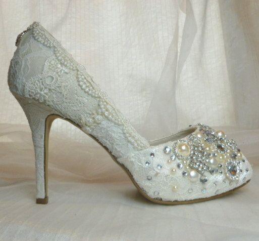 c34b19a3b52d Vintage Lace Bridal Shoes .Hand Embellished Wedding Shoes . Wedding Heels . Lacy  Bridal