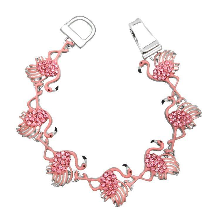 زفاف - Pink Flamingo Rhinestone Enamel Magnetic Closure Silver Tone Bracelet