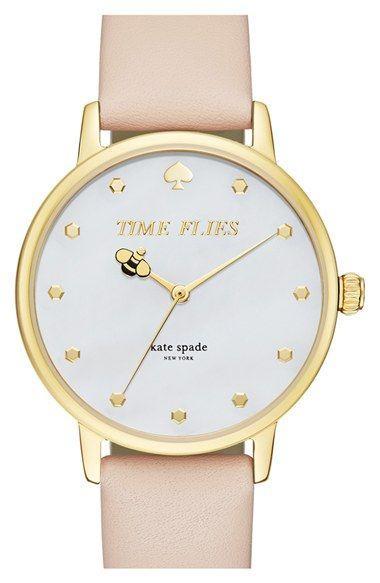 زفاف - Kate Spade New York 'metro - Honeybee' Leather Strap Watch, 34mm Available At #Nordstrom