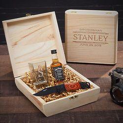Hochzeit - Stanford Shot Glass & Knife Custom Groomsmen Gift Box